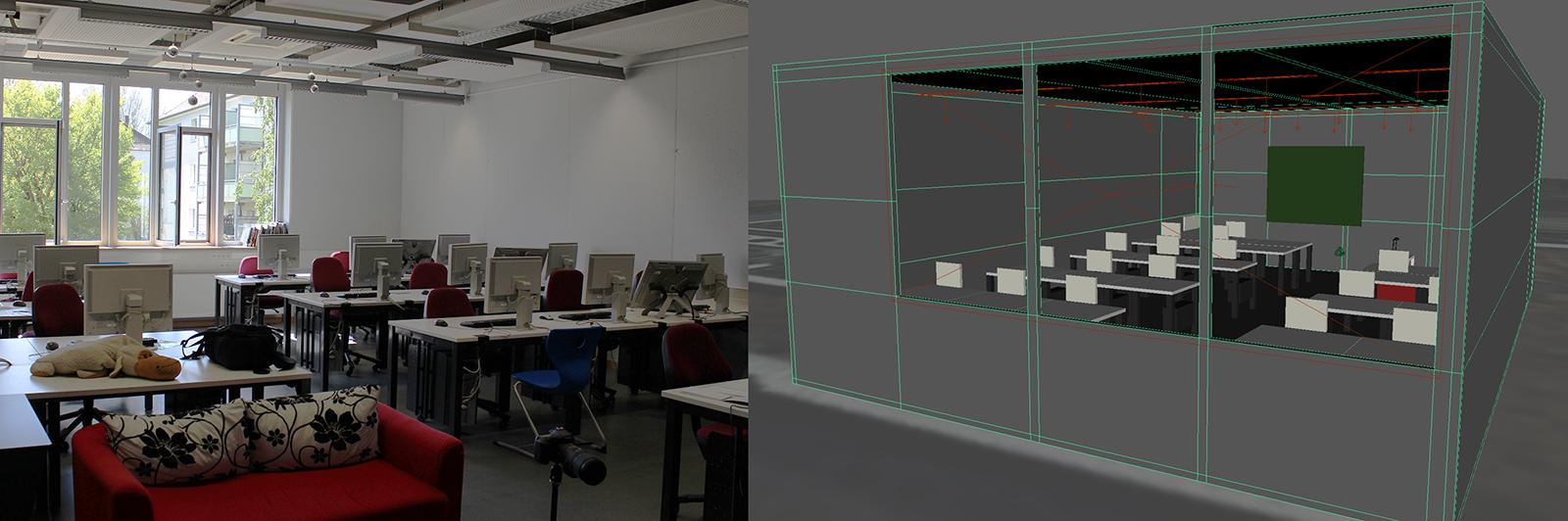 Foto und Modell des Labors