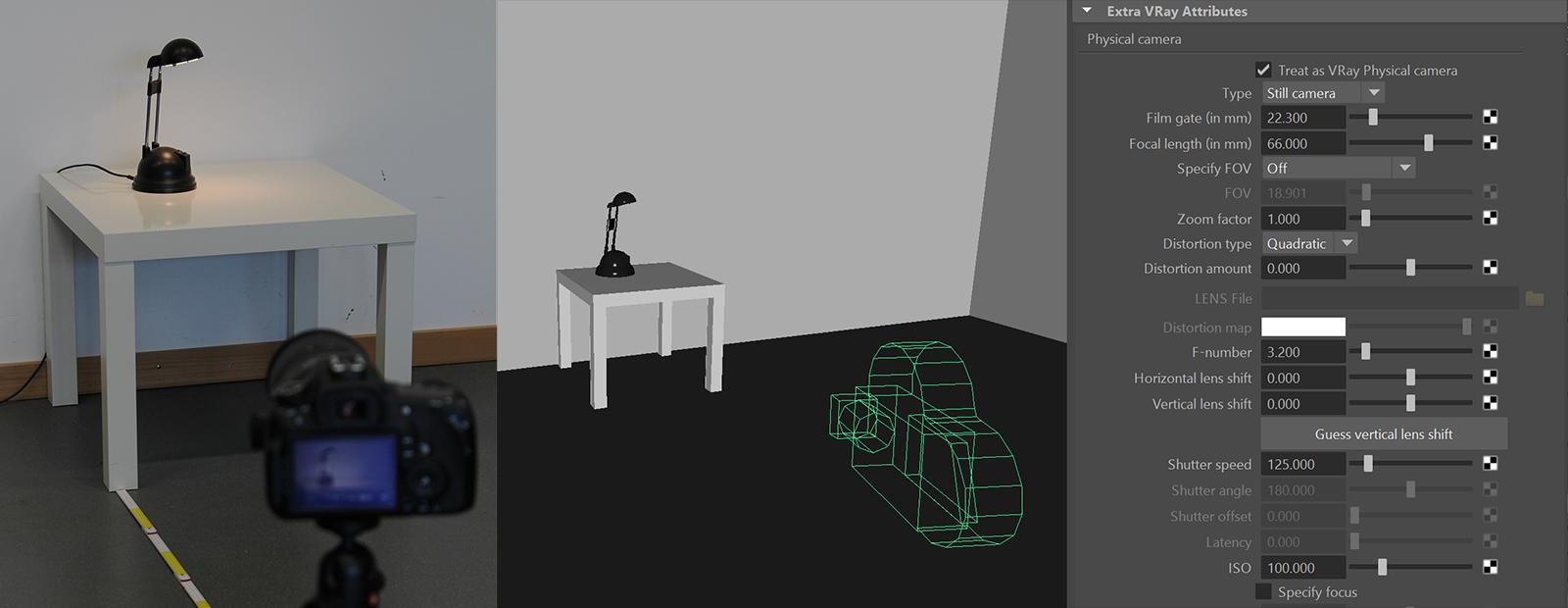 Foto und Modell der Lampe auf Tisch